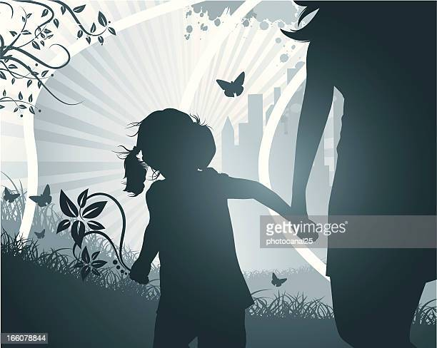 the girl and her mother - clip art family stock illustrations