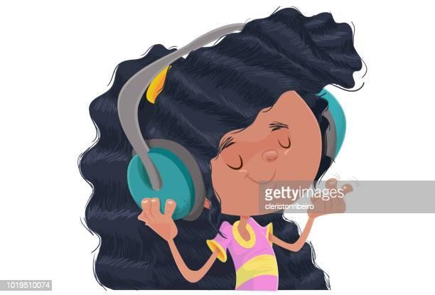 ilustraciones, imágenes clip art, dibujos animados e iconos de stock de la niña y la música - mujer escuchando musica