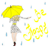 "The girl under an umbrella catches rain drops. ""Be happy"" handwritten lettering. Vector"