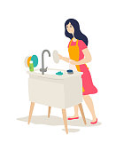 The girl washes the dishes. Vector. Flat cartoon style. The keeper of the hearth does housework. A young woman wipes her dishes while standing at the sink. Family matters. Illustration for the magazine.
