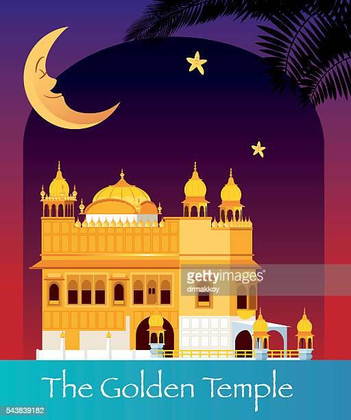 the golden temple - amritsar stock illustrations