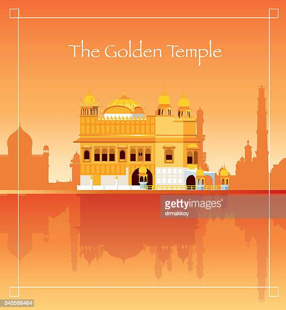 the golden temple - punjab india stock illustrations