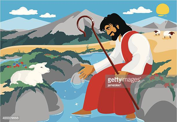 the good shepherd - sheep stock illustrations, clip art, cartoons, & icons