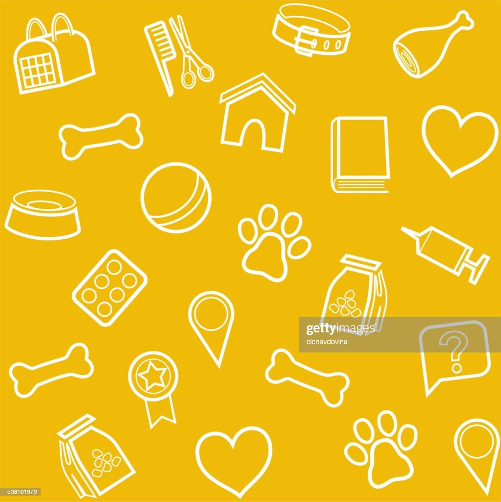 The goods for animals, background, seamless, yellow.