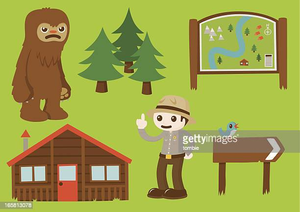 the great outdoors - element set 2 - bigfoot stock illustrations