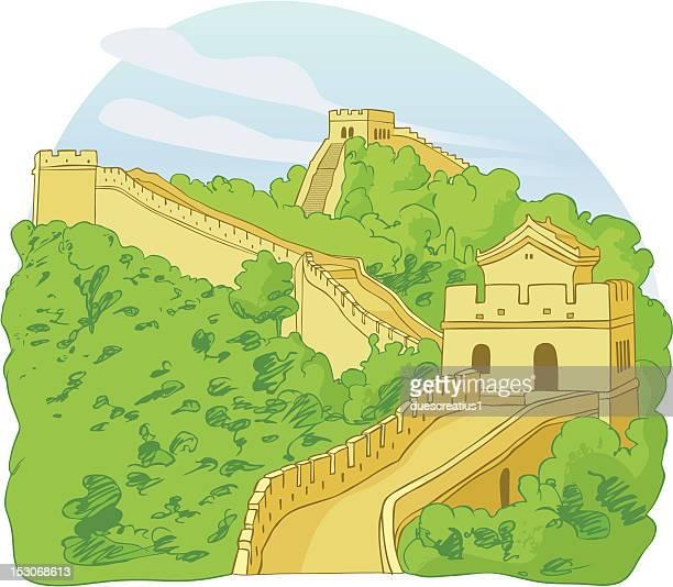 ilustraciones, imágenes clip art, dibujos animados e iconos de stock de la gran muralla china - granmurallachina