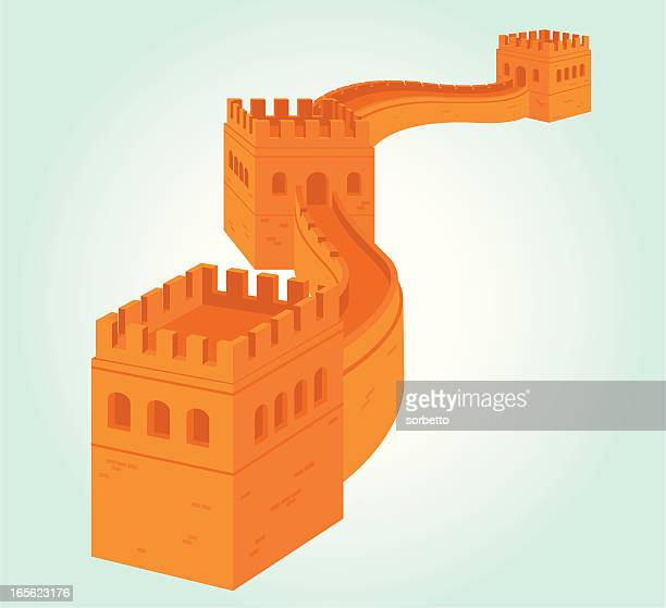 the great wall - surrounding wall stock illustrations