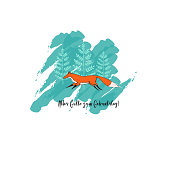 The Greeting Card with Cute Running Fox and Trees on Background. Text in German: Alles Gutte zum Geburtstag in English Happy Birthday.