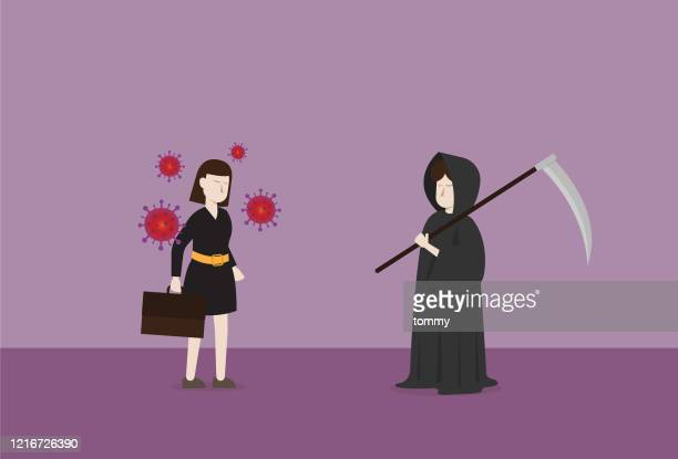 the grim reaper and a patient - viral shedding stock illustrations