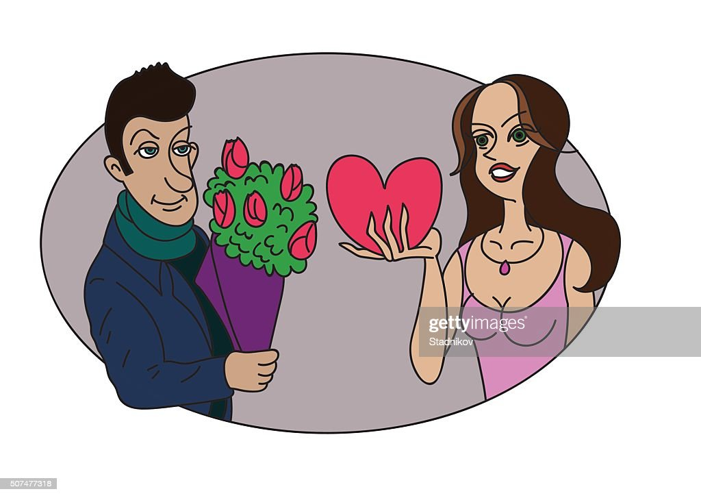 The guy gives her the flowers and she gives him a Valentine
