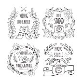 The hand drawn elements to create a logo photography