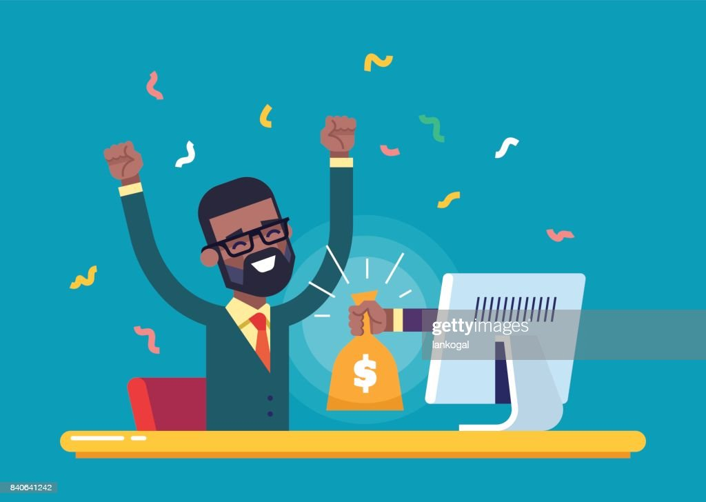The hand from the monitor stretches a bag of money to a happy black man. Concept of earnings on the Internet, online income, gambling. Modern vector illustration.