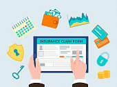 The hand holding the gadget, form insurance online, insurance symbols shield with keyhole, key, padlock, schedules of revenues, calendar, wallet with cash and credit cards.