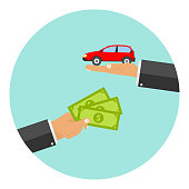 The hand holds out the money in exchange for a car.