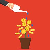 The hand of a businessman who pours a money tree. The concept of earnings, success in work, money. Vector illustration