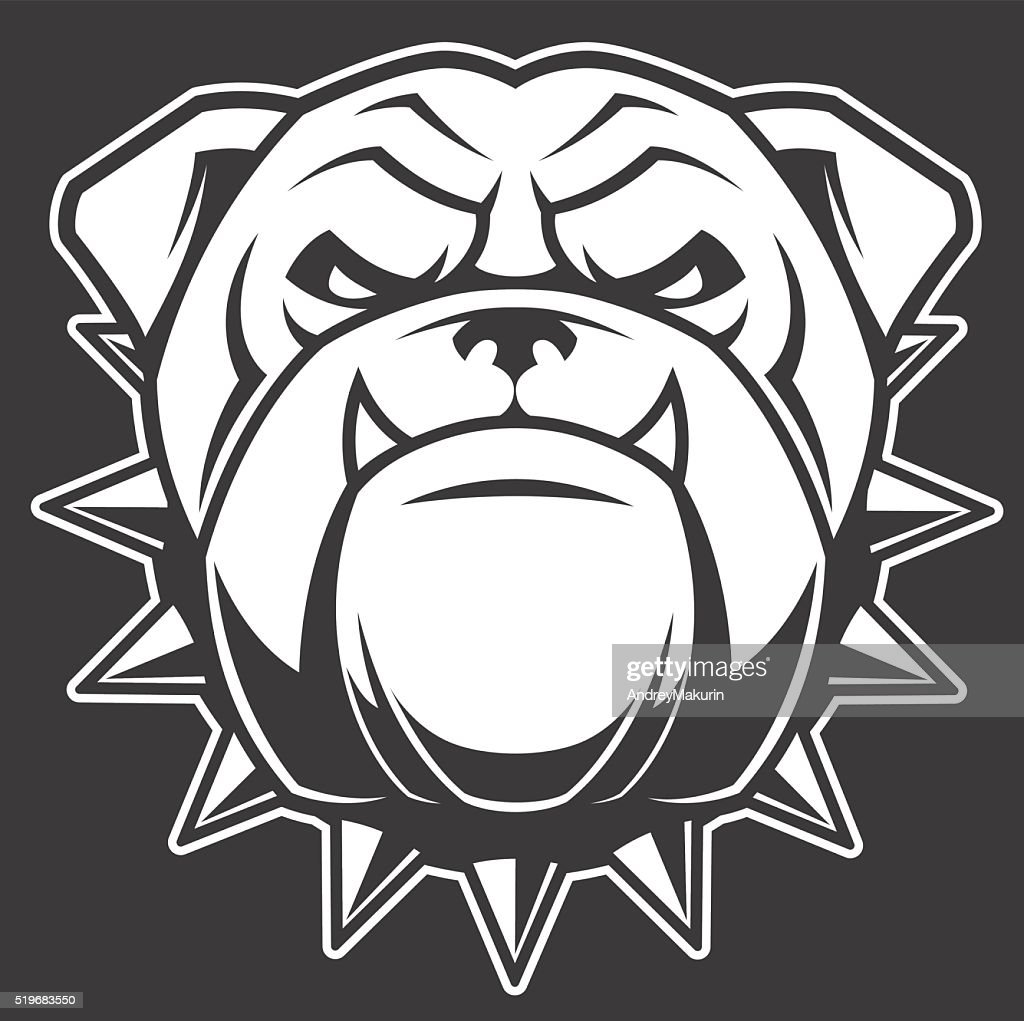 The head of a fierce bulldog