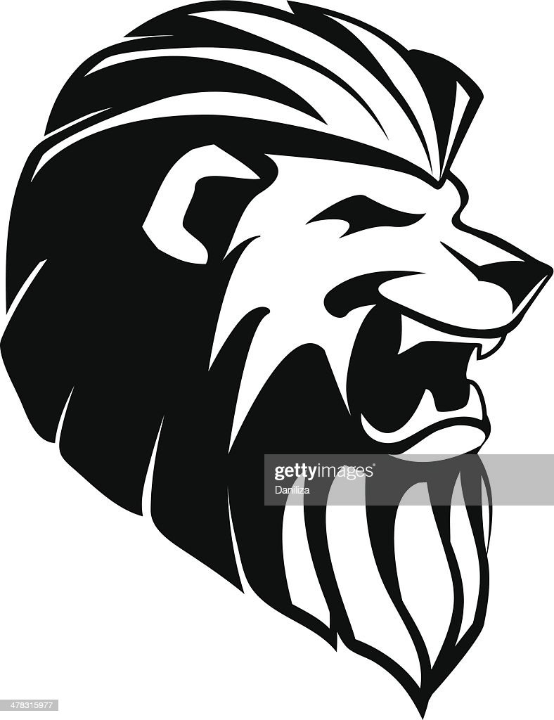 The head of roaring lion - tatoo
