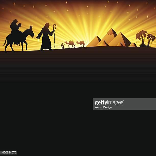 the holy family in egypt - donkey stock illustrations, clip art, cartoons, & icons