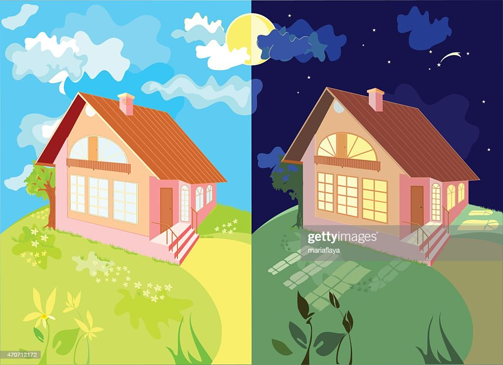 The house at night and day