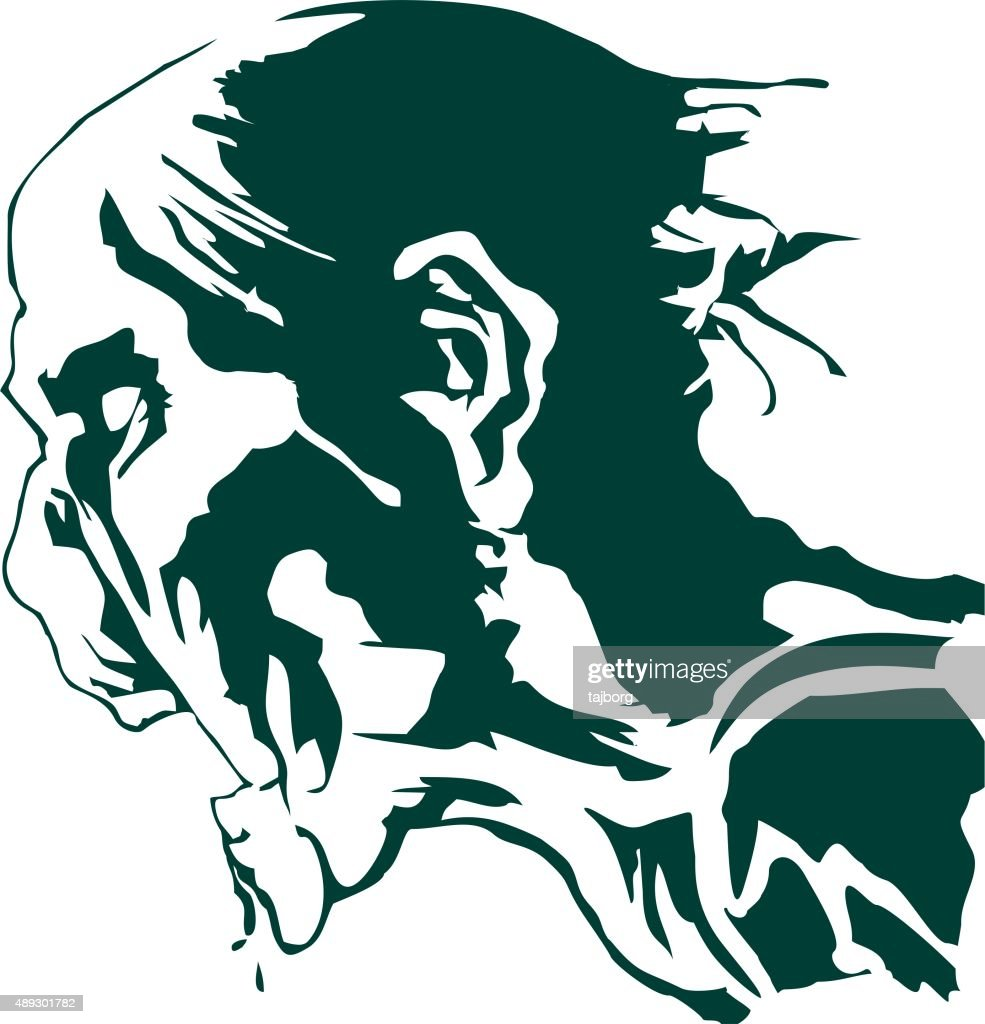 the hungry zombie head silhouette vector