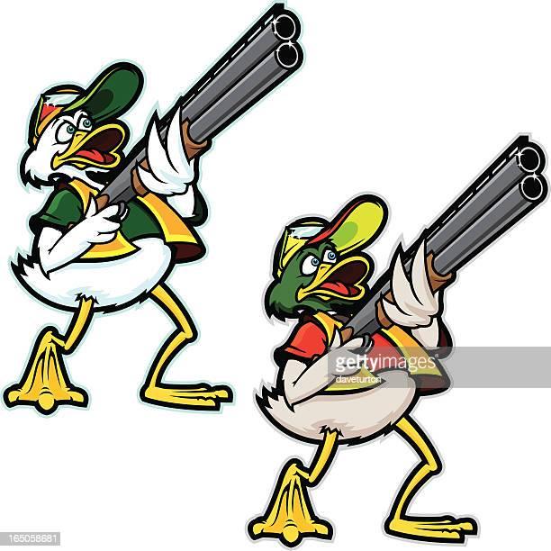 the hunter duck - duck stock illustrations, clip art, cartoons, & icons
