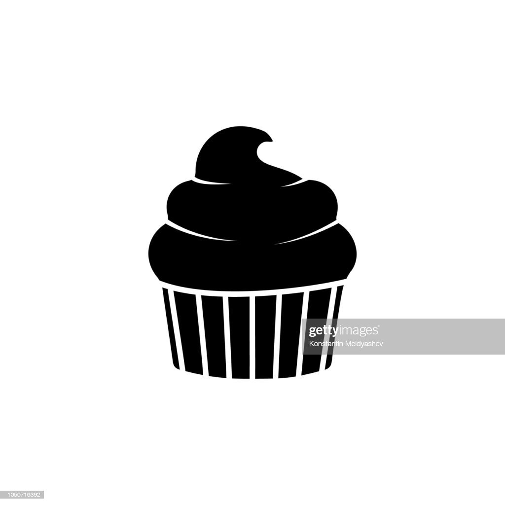 The icon of cup cake. Simple flat icon illustration, vector of cup cake for a website or mobile application on white background