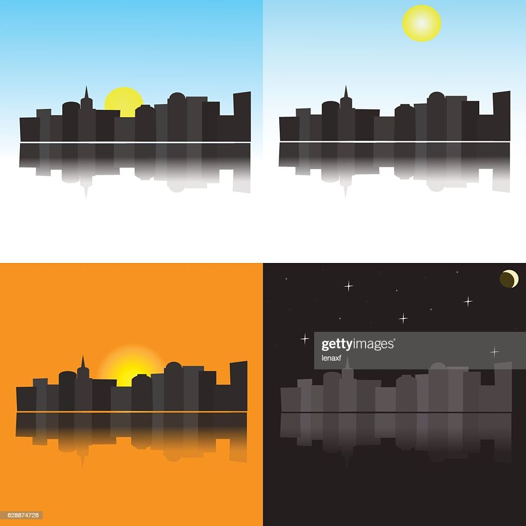 The image of the city at different times of the day