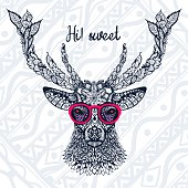 The image of the deer's head with glasses