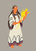 The Indian, vector illustration by Thanksgiving Day. Woman the aboriginal of America in  traditional suit with a bunch of cereals in hands. Isolated object.