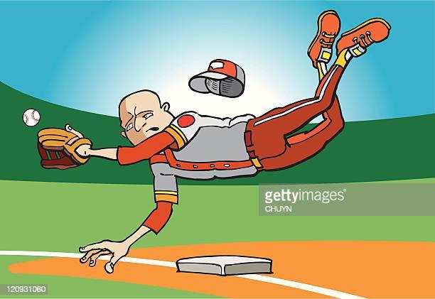 illustrations, cliparts, dessins animés et icônes de le joueur de champ intérieur - arbitre de baseball