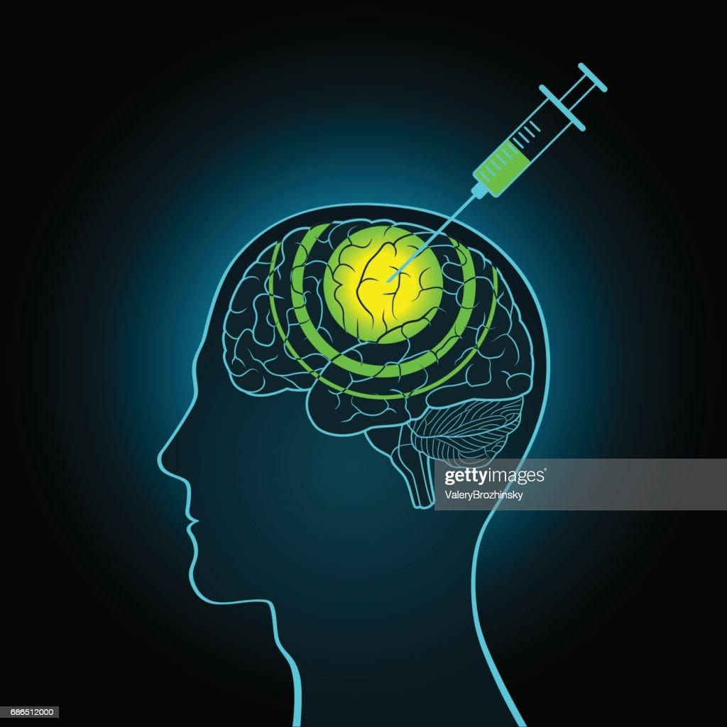 The injection syringe into the brain of truth serum, brainwashing