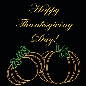 The inscription Happy Thanksgiving Day on a black background with orange outline pumpkins with green leaves