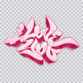 The inscription I love you. Vector illustration love greeting card with hearts for Valentine day. A beautiful graffiti inscription.