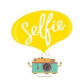 "The inscription ""Selfie"" in the big bubble"