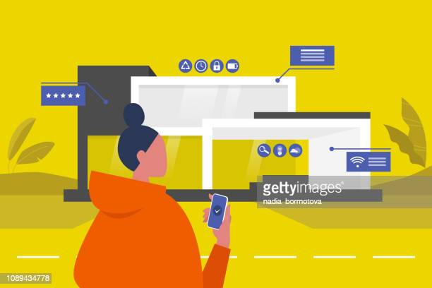 The interface of Smart home. New technologies. Lifestyle. Futuristic pop up windows. Data. Young female character standing in front of the building. Remote control.