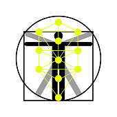 The Kabbalah Tree of Life and Leonardo da Vinci vitruvian man vector icon symbol design. Illustration isolated on white background. Leonardo da Vinci vitruvian man simplified sign. Main glyph of the Qabalists.