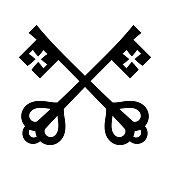 The keys of St. Peter (Keys to The Kingdom of Heaven), papal keys. The Catholic symbol of faith and salvation. Emblem of the Holy See.