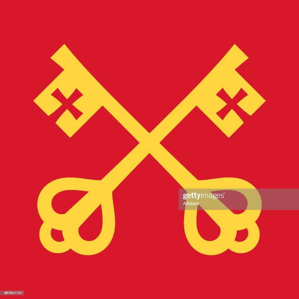 The keys of St.Peter (Keys to the Kingdom of Heaven), papal keys. The Catholic symbol of faith and salvation. Emblem of the Holy See.