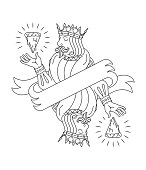 The king of pizza wallpaper design black on a white background