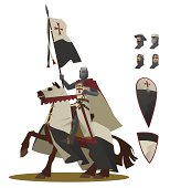 The Knight Templar on a horse illustration