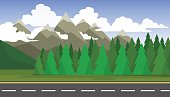 The landscape of forests, mountains and roads