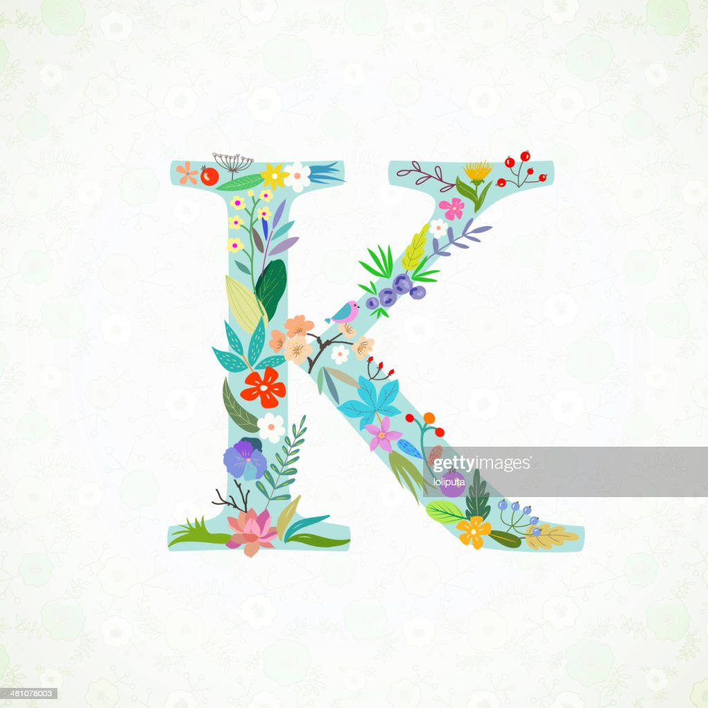 The letter K. Bright floral element of colorful alphabet