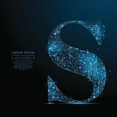 the letter S low poly blue