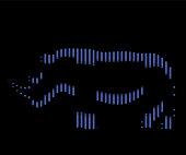 The linear illustration of a rhinoceros Logo