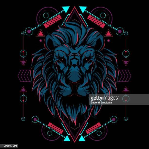 ilustrações, clipart, desenhos animados e ícones de a geometria sagrada do leão - coroa enfeite para cabeça