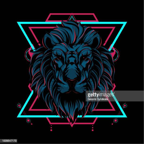 the lion sacred geometry - artistic product stock illustrations