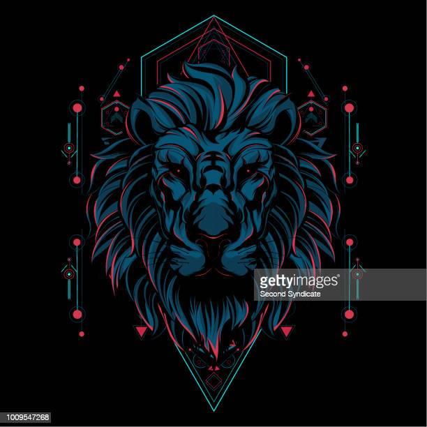 illustrazioni stock, clip art, cartoni animati e icone di tendenza di la geometria sacra del leone - testa di animale