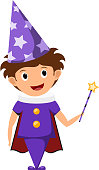 The little magician. child in a purple suit and cap
