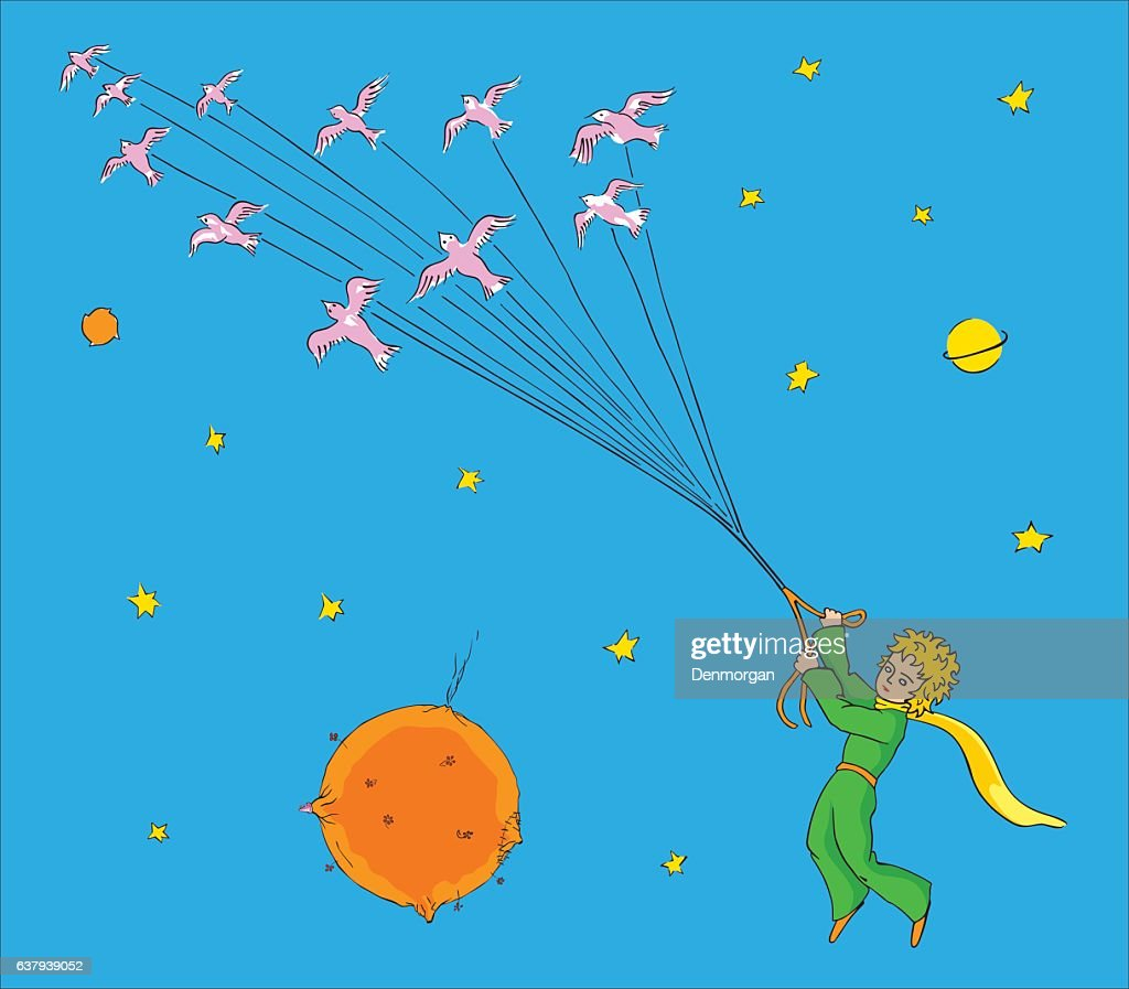 The little Prince flying with birds