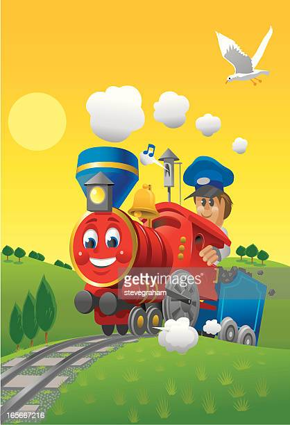 the little red train - miniature train stock illustrations, clip art, cartoons, & icons